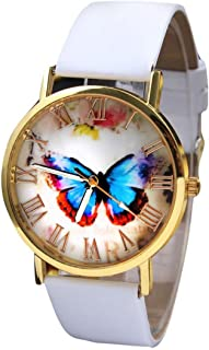 Women Girls Analog Quartz Watches with Leather Band Cuekondy Fashion Butterfly Style Business Dress Wrist Watch Bracelet (White)