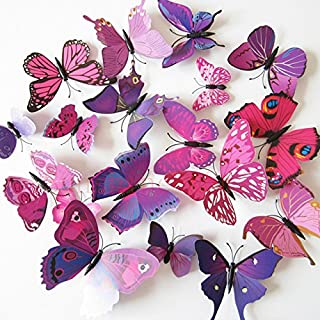Xtore 12pcs 3D Home Decor Butterfly | 3D Plastic Build Beautiful Decor Item | Comes with Sticking pad Product (Set of 12) (Shimmer Purple)