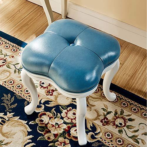 LIUXING-Home Grand meuble de rangement pour maquillage créatif, tabouret de coiffeuse, tabouret de piano rembourré motif trèfle (couleur : bleu, taille : 34,5 x 38 x 45 cm)
