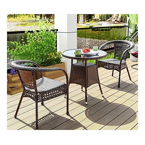 DYYD Juegos de Muebles de jardín Rattan Muebles de jardín Mesa y sillas de jardín Juego de Patio de ratán Mesa de Comedor Juego de Tejido de Mimbre de jardín al Aire Libre Junto a la Piscina
