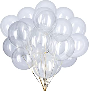 ZOOYOO 12 inch Clear Latex Balloons Helium Balloons Quality Black Balloons Party Decorations Supplies Pack of 100