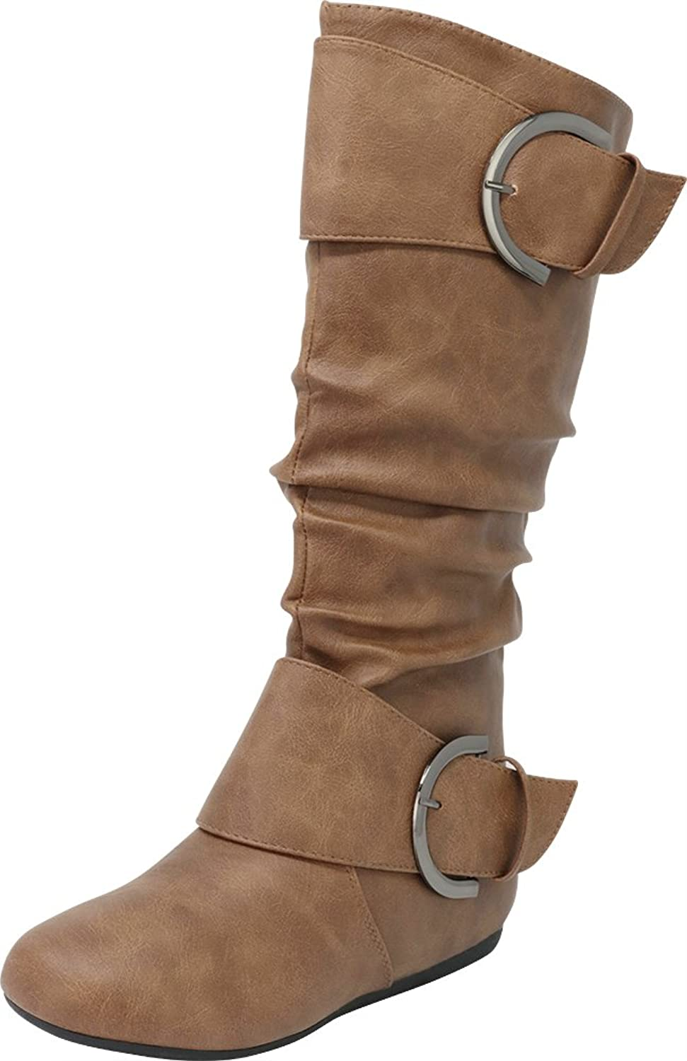 Cambridge Select Pull-On Slouchy Mid-Calf Round Toe Buckle Boot