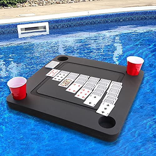 Polar Whale Floating Game or Card Table Tray for Pool or Beach Party Float Lounge Durable Foam 23.5 Inch Drink Holders with Waterproof Playing Cards Deck UV Resistant