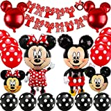 Miickey Motto Partydekorationen Birthday Party Set, BESTZY Miickey Ballons Rot Schwarz Luftballons Mickey 1st Birthday Themed Party Supplies Motto Birthday Party Dekorationen, Baby Shower Supplies