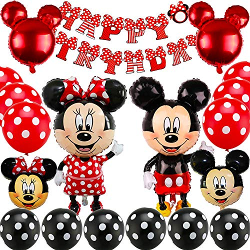 Mickey Mouse Themed Decoraciones de Fiesta, BESTZY Mickey Party Globos Artículos de Fiesta de Mickey y Minnie para Fiestas de Cumpleaños Decoraciones