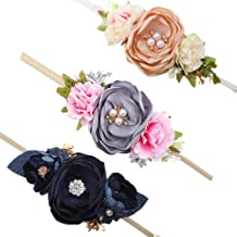 Baby Girl Floral Headbands Set - 3pcs Flower Crown Newborn Toddler Hair Accessories by mligril