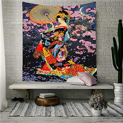 KHKJ Tapiz japonés, Tela de Pared, Geisha, Tapiz para Colgar en la Pared, Cortina de Puerta para Mujer, Cocina, Restaurante, Pared, decoración del hogar, A4 95x73cm