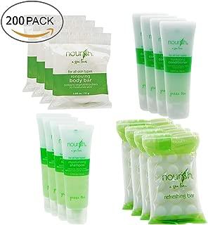 Nourish Spa Line Green Tea BNB Amenity Bath & Body Sets - Soap, Shampoo, Conditioner (50 SET - 200 Pieces Total)