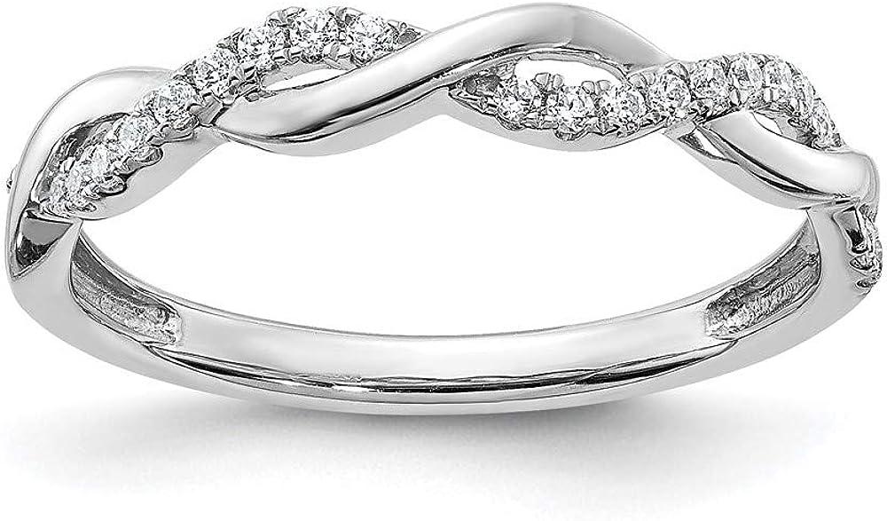 Luxury goods 14k White Gold Diamond Twist Columbus Mall Design Ring Band Size 7 Wedding