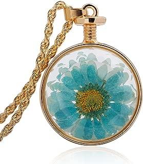 Winter's Secret Dried Flower Glass Pendant Gold Color Twist Chain Necklace