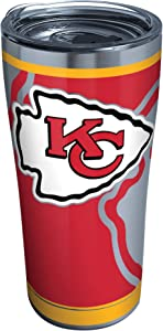 Tervis NFL Kansas City Chiefs Rush Stainless Steel Tumbler with Lid, 20 oz, Silver