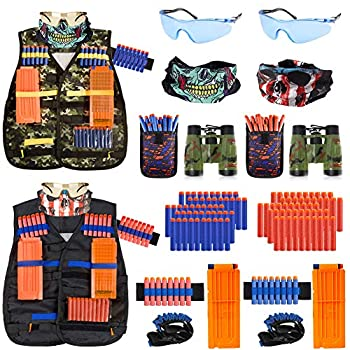 2 Pack Kids Tactical Vest Kit for Nerf Guns Game N-Strike Elite Series Wars with Refill Darts Reload Clips Dart Pouch Tactical Mask Wrist Band and Protective Glasses for Boys ,Girls