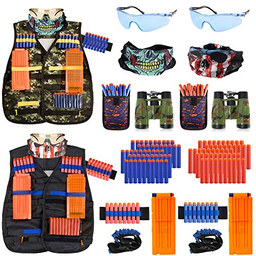 2 Pack Kids Tactical Vest Kit for Nerf Guns Game N-Strike Elite Series Wars with Refill Darts, Reload Clips, Dart Pouch, Tactical Mask, Wrist Band and Protective Glasses for Boys ,Girls