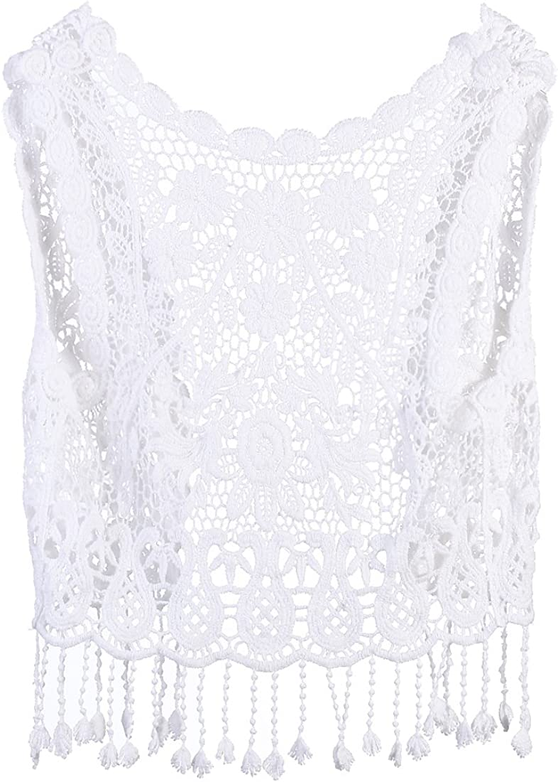 Toddler Kids Baby Girls Lace Crochet Hollow Out Cardigan Vest Tops Tassels Blouse Waistcoat