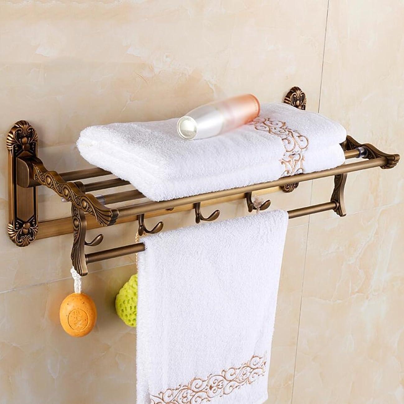 昇進知覚する知り合いタオル掛けタオルスタンド 浴室折りたたみタオルバー壁掛けフックバスタオルラックレトロ彫刻工芸60センチ