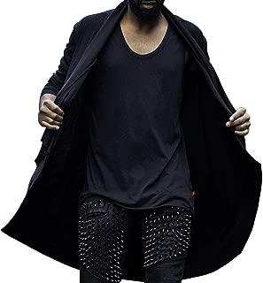 ByTheR Men's Fashion Avant-Grade Rib Front Drape Cardigan