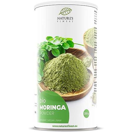 Nature's Finest Moringa en polvo Bio 250g | Superalimento orgánico crudo | Rico en vitaminas, minerales y proteínas | Vegetariano y vegano