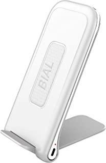 BIAL Wireless Charger, Qi-Certified 10W Fast Wireless Charger Stand Compatible Samsung S9/S9+/S8/S8+/S7/Note 8,7.5W Charging Compatible with iPhone Xs Max/XR/XS/X/8/8 Plus Ultra-Slim(No AC Adapter)