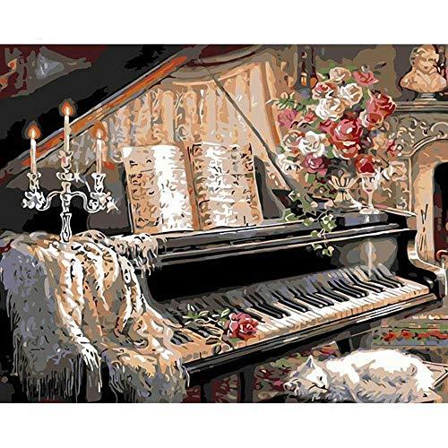 YSNMM De Piano Kitten Schilderen Diy Digitale Schilderen Door Getallen Moderne Muur Kunst Beeld Thuis Muur Artwork