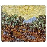 N\A Art Mousepad - Alfombrilla de Goma Natural con Pintura de Bellas Artes de olivos con Cielo Amarillo y Sol de Van Gogh - Bordes cosidos - Pulgadas