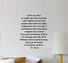 Dr Seuss Vinyl Wall Decal Life is Too Short to Wake Up in The Morning with Regrets Quote Lettering Vinyl Sticker Boy Girl Teens Kids Home Bedroom Nursery Decor Art HDS3814