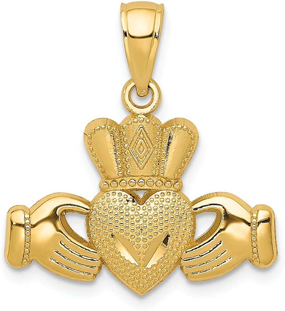 14k Yellow Gold Regular Sale item store Polished Textured Claddagh mm 20 L- Pendant W-