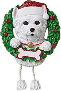 Personalized Westie Christmas Tree Ornament 2019 - Fluffy Dog Dangle Paw Santa Hat Pure Love Play Fun Intelligent West Highland White Terrier Fur-Ever New Loyal Family R.i.p. - Free Customization