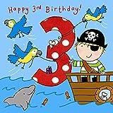 Twizler Tarjeta de 3er cumpleaños para niño con pirata, loros y purpurina – 3 años – Edad 3 – Tarjeta de cumpleaños para niños – Tarjeta de cumpleaños – Tarjeta de cumpleaños para niños – Tarjeta de feliz cumpleaños