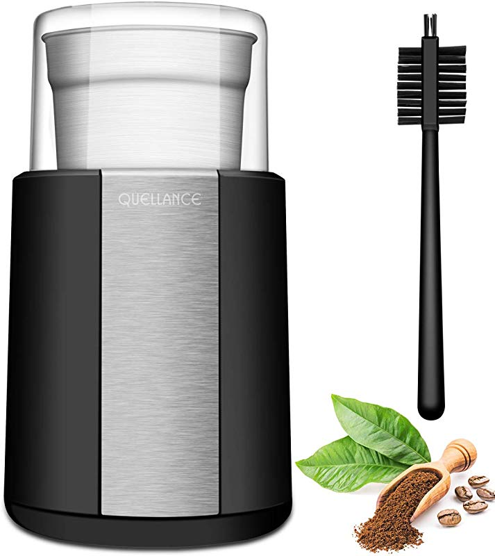 QUELLANCE Electric Coffee Grinder Stainless Steel Blades Coffee And Spice Grinder With 2 5 Ounce Removable Cup Powerful 200W Electric Mills For Most Efficient Grinding Black