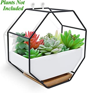 XiaZ Wall Hanging Planter Vase White Rectangular Ceramic, Iron Stand and Bamboo Saucer, Succulent Air Plants Cactus Pearls Holder Container, Flower Pots for Desk, Home Decoration