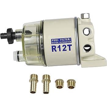 Amazon.com: CARMOCAR Marine Fuel Water Separator/Diesel Fuel Filter/Water  Separator for R12T MARINE SPIN-ON HOUSING 120AT NPT ZG1/4-19 Includes 2  fittings,2 plugs: AutomotiveAmazon.com