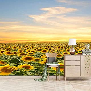 VITICP Adults Kids Wall Stickers Decals Peel and Stick Removable Wallpaper Yellow Sunflower Blooming for Nursery Bedroom L...