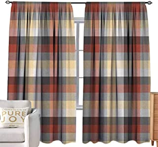 Andrea Sam Teal Curtains Plaid,Checkered Squares Pattern with Colorful Quilt Design Abstract Geometric Arrangement, Multicolor Blackout Curtain Panels Window Draperies,W108 x L108 inch