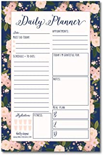 Navy Floral Undated Daily Task Planner To do List Pad, School Family Life Work Personal Productivity Notepad, Day Schedule Organizer Cute Birthday Gift Idea Health Goal Habit Tracker 50 Tear Off Pages