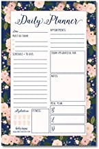 Navy Floral Undated Daily Task Planner To do List Pad, School Family Life Work Personal..