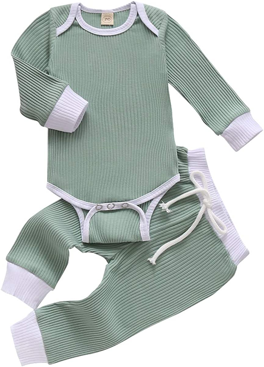 YOUNGER TREE Newborn Baby Boy Girl Clothes Long Sleeve Romper Pants Set Fall Winter Outfits