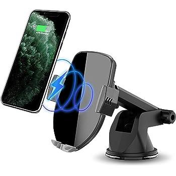 車載Qi ワイヤレス充電器 車載 ホルダー 10W/7.5W 急速ワイヤレス充電器 車載スマホホルダー 360度回転 粘着式&吹き出し口2種類取り付 iPhone 11/pro/pro max/X/XR/XS/XSMAX/8/8 Plus/Galaxy S9/S8/S8 Plus/S7/S7 Edgete 8/Nexus 5/6等に適用ワイヤレス充電機種 に対応