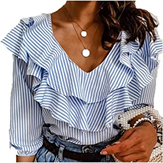 Fyuanmeiinsdxnv Womens tops summer Womens Tops and Blouses Short Sleeve Office Lady Blouse Striped OL Shirt Ladies Dames R...