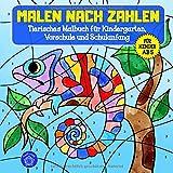 Malen nach Zahlen ab 5: Tierisches Malbuch für Kindergarten, Vorschule und Schulanfang & Bonusmotive: Tiermandalas für Kinder (Malen nach Zahlen Kinder, Band...