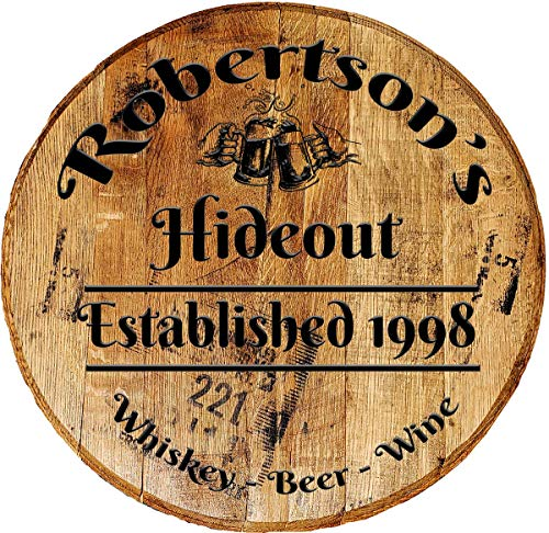 Rustic Home Decor Personalized Whiskey Barrel Head - Custom Hideout - Drinking Bar Sign Man Cave