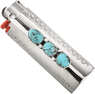 Silver Navajo Lighter Case Cover Bisbee II Turquoise Nuggets 3330