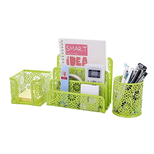 Superbe Crystallove Set Of 3 Metal Mesh Office Supplies Desk Organizer, Green Style  2