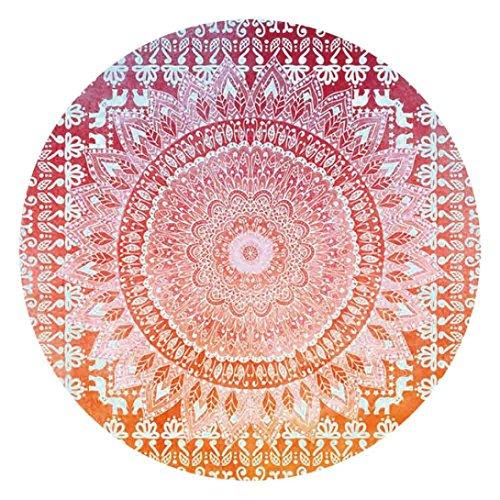 Gaddrt Couverture de serviette de tapis de tapisserie ronde de Bohème pour le yoga de Picnic de plage (E)