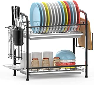 Dish Drying Rack, iSPECLE 2-Tier 304 Stainless Steel Dish Rack with Utensil Holder, Cutting Board Holder and Dish Drainer for Kitchen Counter, Dish Dryer Black