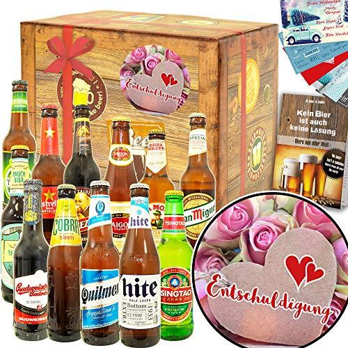Entschuldigung - Entschuldigungsgeschenk Partner - Biere aus aller Welt 12x