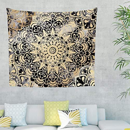 YxueSond - Sofá de salón con diseño de mandala en dorado para decoración de ropa de cama, estilo retro, rectangular, para colgar en la pared, decoración de dormitorio, Blanco, 79x59inch