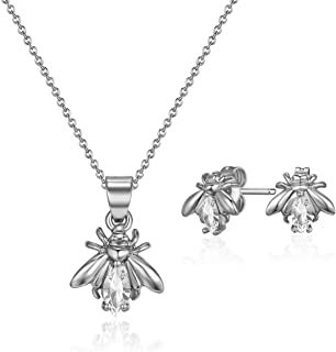 Mestige Rhodium Plated Crystals Firefly Jewelry Set - 2 Pieces, MSSE3255,Silver