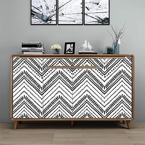 Hode Papel Adhesivo para Muebles Rayas Blancas 45cmX3m Papel Pintado Vinilo Pegatina para Muebles Cocina Impermeable Decorativa Autoadhesivo