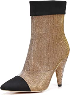 Booties 239-1 Women's Ankle Boots Pointed Toe Sequined Mesh High Heel Bootie with Cone Heel