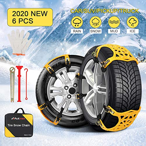 Autmor Snow Chains for Car, 6pcs Adjustable Anti Skid Tire Chains for Cars/SUV/Pickup Trucks, Snow Tire Chains, Universal Snow Chains for Pickup Trucks/SUV (Tire Width 6.5''-10.8'')